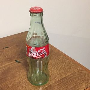 "Coca Cola bottle miniature 7 1/2"" high Santa cap"